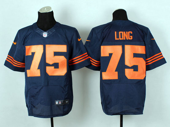 Mens Nfl Chicago Bears #75 Kyle Long Blue (2014 New Orange Number) Elite Jersey