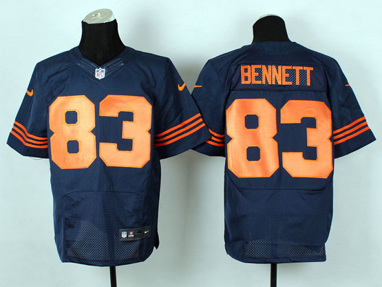 Mens Nfl Chicago Bears #83 Bennett Blue (2014 New Orange Number) Elite Jersey