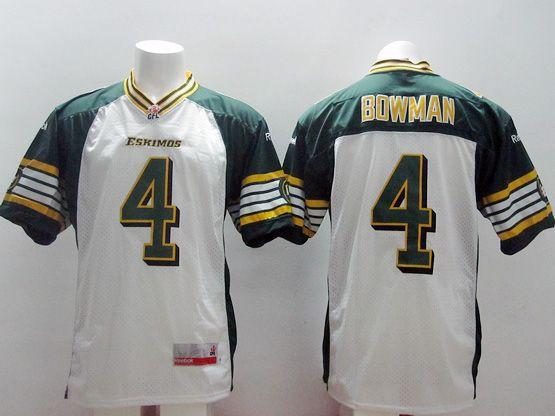 Mens Cfl Edmonton Eskimos #4 Bowman White Jersey