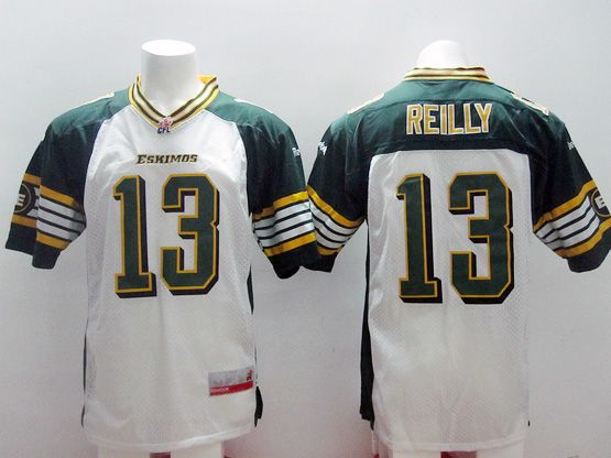 Mens Cfl Edmonton Eskimos #13 Reilly White Jersey