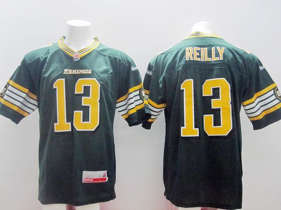 Mens Cfl Edmonton Eskimos #13 Reilly Green Jersey