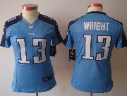 Women  Nfl Tennessee Titans #13 Wright Light Blue Limited Jersey
