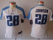 Women  Nfl Tennessee Titans #28 Johnson White Limited Jersey