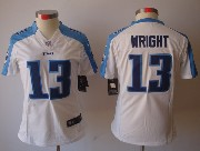 Women  Nfl Tennessee Titans #13 Wright White Limited Jersey