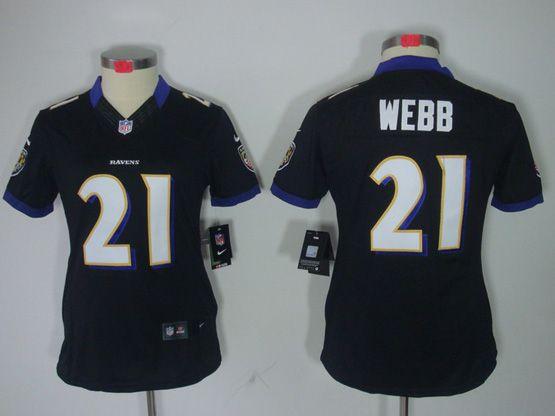 Women  Nfl Baltimore Ravens #21 Lardarius Webb Black Limited Jersey