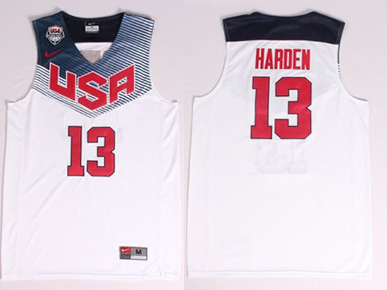 Mens Nba Usa Team 2014 Fiba Basketball World Cup #13 Harden White Jersey (p)