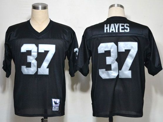 mens nfl Oakland Raiders #37 hayes black throwbacks jersey