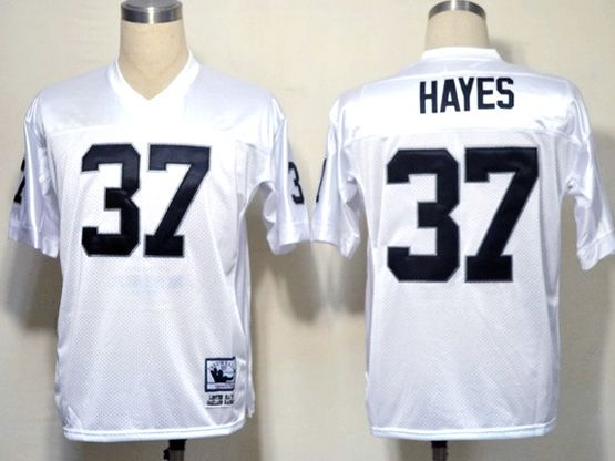 mens nfl Oakland Raiders #37 hayes white (black number) throwbacks jersey