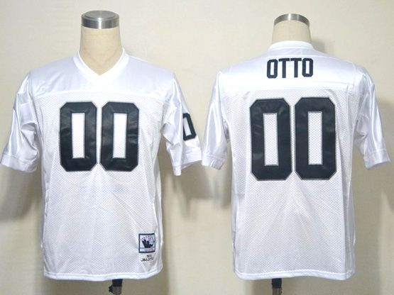 mens nfl Oakland Raiders #00 otto white (black number) throwbacks jersey