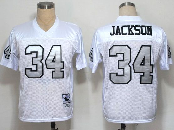 mens nfl Oakland Raiders #34 jackson white (silver number) throwbacks jersey