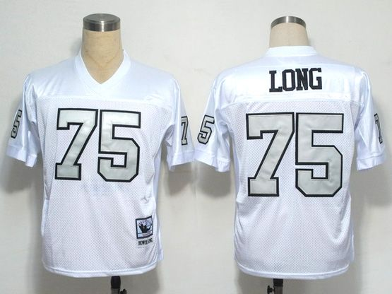 mens nfl Oakland Raiders #75 long white (silver number) throwbacks jersey