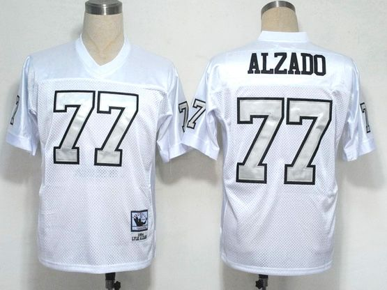 mens nfl Oakland Raiders #77 alzado white (silver number) throwbacks jersey