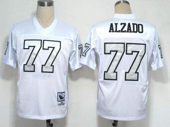 Mens nfl okland raiders #77 alzado white (silver number) throwbacks Jersey