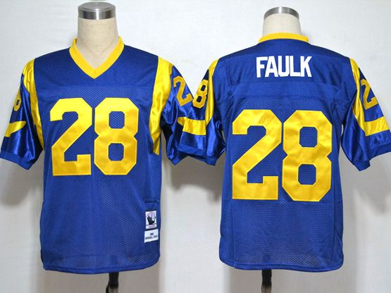 Mens Nfl St. Louis Rams #28 Faulk Light Blue Throwbacks Jersey