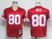 Mens nfl san francisco 49ers #80 rice red throwbacks Jersey