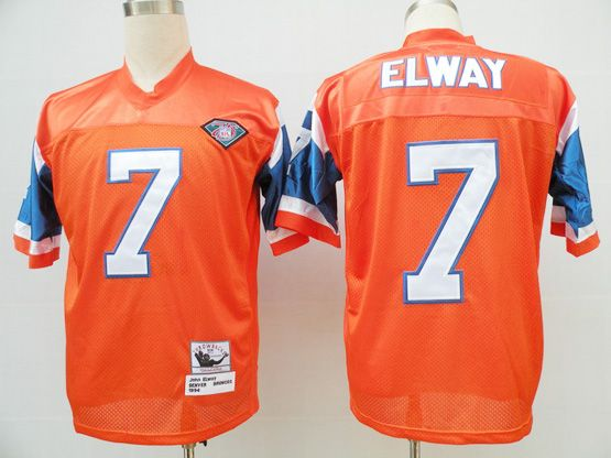 Mens NFL DENVER BRONCOS #7 ELWAY ORANGE 75TH THROWBACKS Jersey