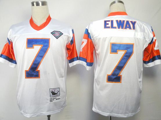 Mens Nfl Denver Broncos #7 Elway White 75th Throwbacks Jersey