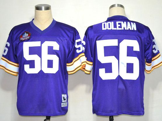 Mens nfl minnesota vikings #56 doleman purple throwbacks Jersey