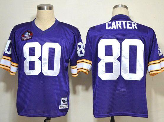 Mens nfl minnesota vikings #80 carter purple throwbacks Jersey