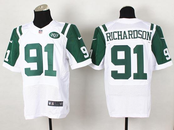 Mens Nfl New York Jets #91 Richardson White Elite Jersey