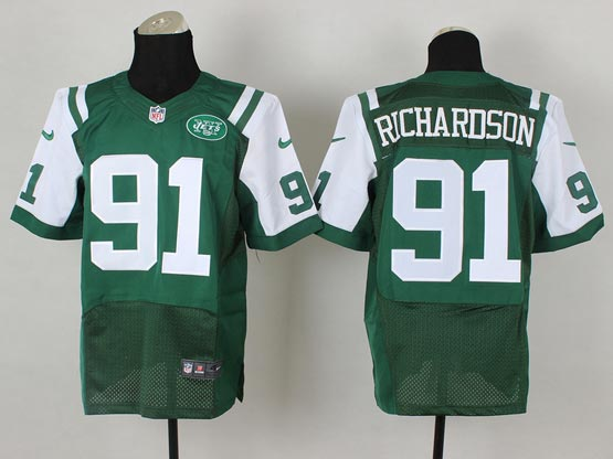 Mens Nfl New York Jets #91 Richardson Green Elite Jersey