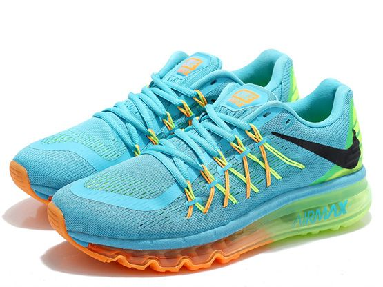 Women Air Max 2015 Running Shoes Color Light Blue&green&orange