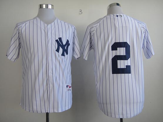Mens MLB New York Yankees #2 Jeter WHITE&stripe JERSEY(NO NAME)