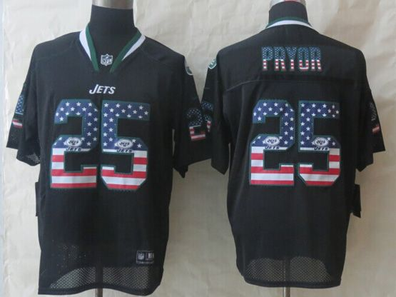 Mens Nfl New York Jets #25 Pryor Black (2014 Usa Flag Fashion) Elite Jersey