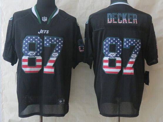 Mens Nfl New York Jets #87 Decker Black (2014 Usa Flag Fashion) Elite Jersey