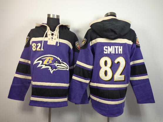 Mens Nfl Baltimore Ravens #82 Torrey Smith Purple (team Hoodie) Jersey