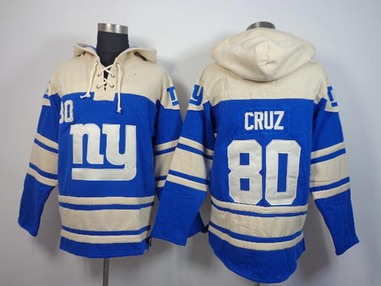 mens nfl New York Giants #80 Victor Cruz blue (team hoodie) jersey