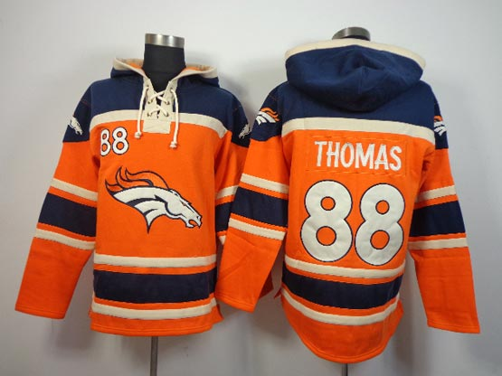 Mens Nfl Denver Broncos #88 Thomas Orange (team Hoodie) Jersey