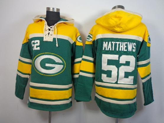 Mens Nfl Green Bay Packers #52 Matthews Green (team Hoodie) Jersey