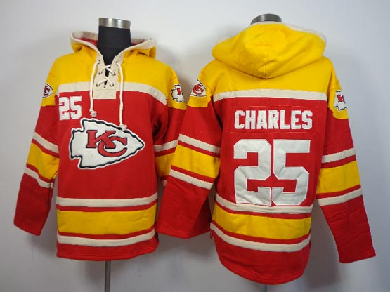 Mens Nfl Kansas City Chiefs #25 Charles Red (team Hoodie) Jersey