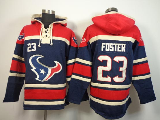 Mens Nfl Houston Texans #23 Foster Blue (team Hoodie) Jersey