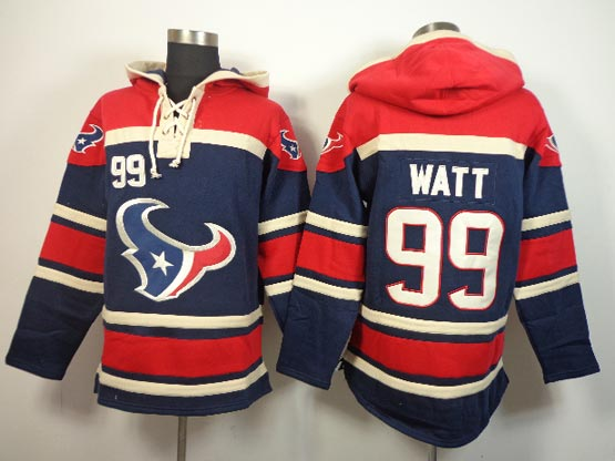 Mens Nfl Houston Texans #99 Watt Blue (team Hoodie) Jersey