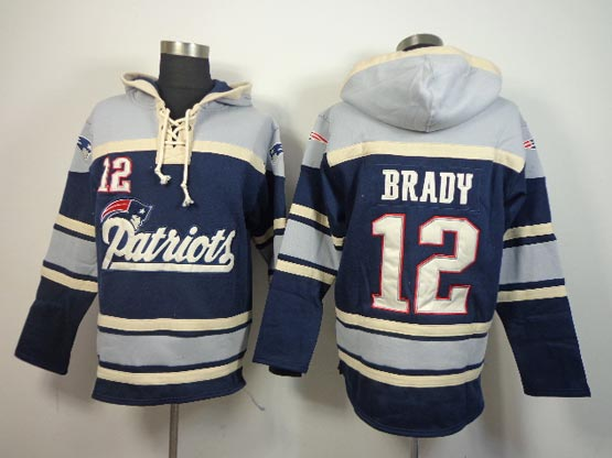 mens nfl New England Patriots #12 Tom Brady blue (team hoodie) jersey