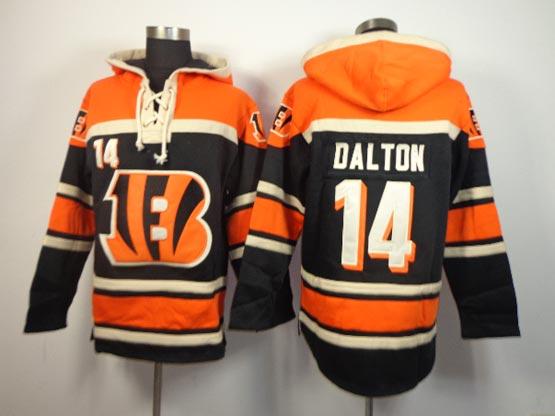 Mens Nfl Cincinnati Bengals #14 Dalton Black (team Hoodie) Jersey