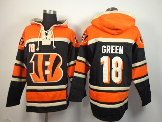 mens nfl Cincinnati Bengals #18 AJ Green black (team hoodie) jersey