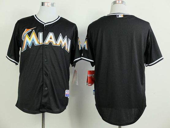 Mens Mlb Miami Marlins (blank) Black Jersey