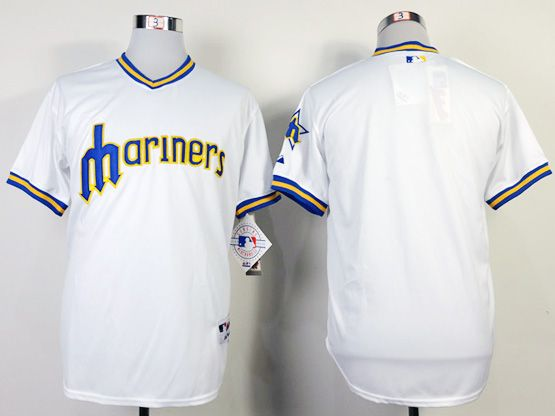 Mens mlb seattle mariners (blank) 1984 turn back the clock white throwbacks Jersey