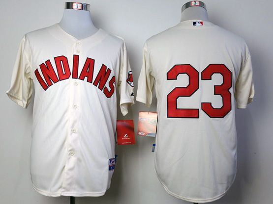 mens mlb cleveland indians #23 brantley cream Jersey (no name)