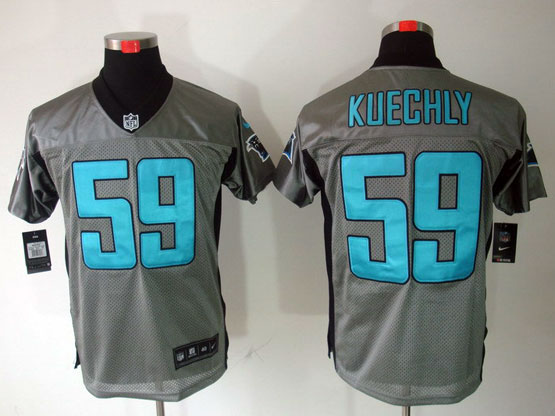 Mens Nfl Carolina Panthers #59 Kuechly Gray Shadow Elite Jersey