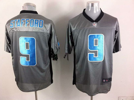 Mens Nfl Detroit Lions #9 Stafford Gray Shadow Elite Jersey