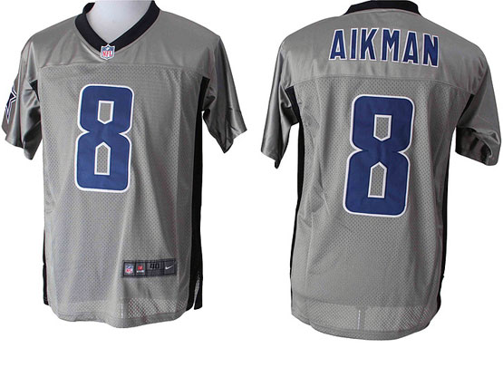 mens nfl Dallas Cowboys #8 Troy Aikman gray shadow elite jersey