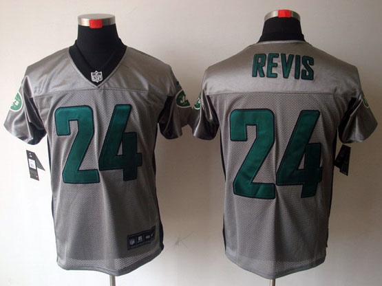 Mens Nfl New York Jets #24 Revis Gray Shadow Elite Jersey