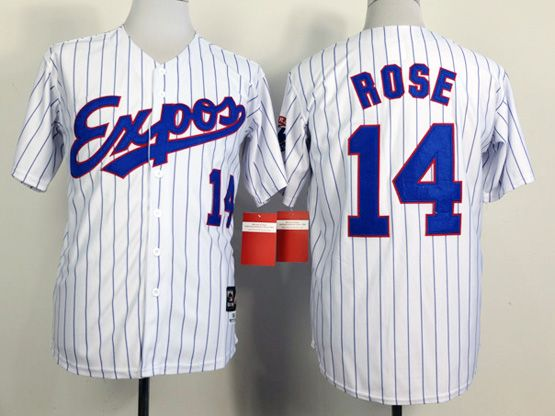 Mens Mlb Montreal Expos #14 Rose White (blue Stripe) 1982 Throwbacks Jersey