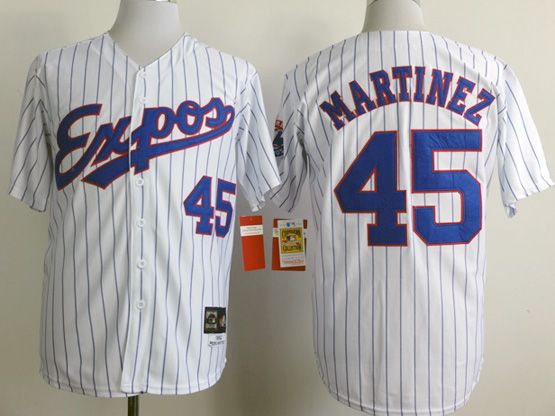 Mens Mlb Montreal Expos #45 Martinez White (blue Stripe) 1982 Throwbacks Jersey