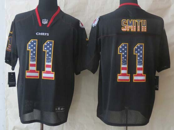 Mens Nfl Kansas City Chiefs #11 Smith Black (2014 Usa Flag Fashion) Elite Jersey