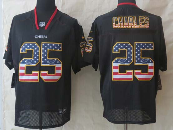 Mens Nfl Kansas City Chiefs #25 Charles Black (2014 Usa Flag Fashion) Elite Jersey